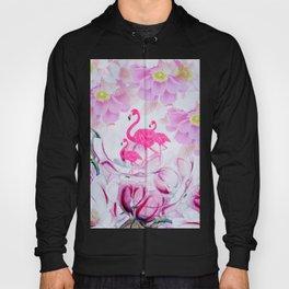 Pink watercolor flowers hand painted flamingo Hoody