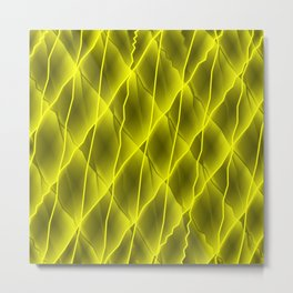Mirrored molecular bonds of curved yellow intersecting ribbons and vague lines. Metal Print