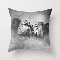 rushmore Throw Pillows featuring Rushmore at Night by Peaky40