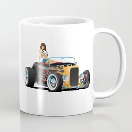 Custom Hot Rod Roadster Car with Flames and Sexy Woman Coffee Mug