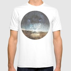 Devour Nature Like A Lion White Mens Fitted Tee MEDIUM