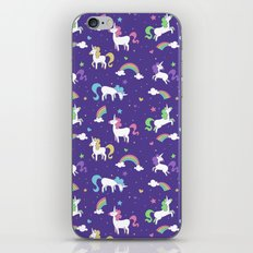 Unicorns and Rainbows - purple -tiny iPhone & iPod Skin
