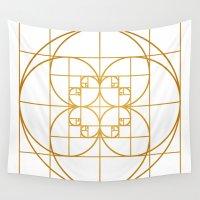 fibonacci Wall Tapestries featuring Golden Splash by Melek Design
