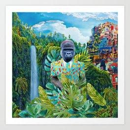 Gorilla in the jungle Art Print