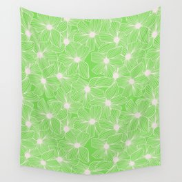 02 White Flowers on Green Wall Tapestry