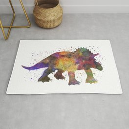 Triceratops dinosaur in watercolor Rug