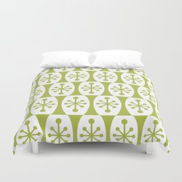Mid Century Modern Atomic Fusion Pattern Chartreuse Duvet Cover
