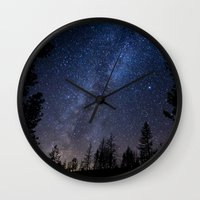 milky way Wall Clocks featuring Milky Way by Chasing the Cosmos