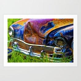 Vintage Frazer Auto Wreck Front End Art Print