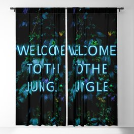 Welcome to the Jungle - Neon Typography Blackout Curtain