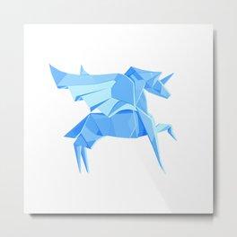 Origami Pegasus Metal Print