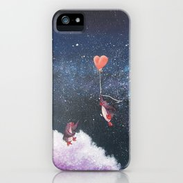 Penguin Lovers and Their New Home in the Stars iPhone Case