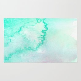Blush pink teal aqua watercolor modern ombre Rug
