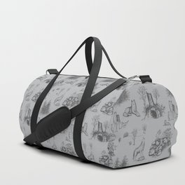 Eurasian Wolf Toile Pattern (Gray) Duffle Bag