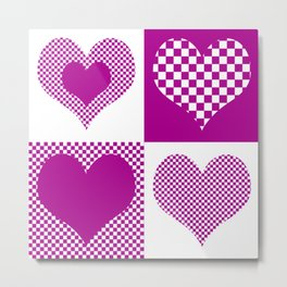 Pink Hearts and Checkers Metal Print