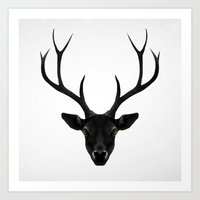 deer Art Prints featuring The Black Deer by Ruben Ireland