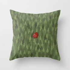 564 green pines and a red house  Throw Pillow