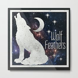 Wolf Feathers Galaxy Wolf Metal Print