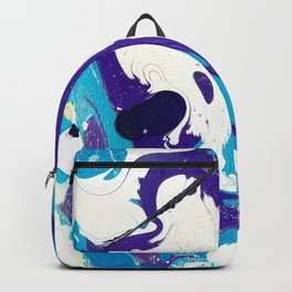 Marble Ink in Blue Purple Black White Yellow Backpack