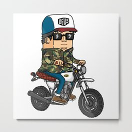 man driving a motorcycle Metal Print