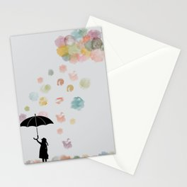 Colorful snow in Winter Stationery Cards