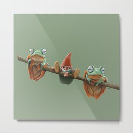 Gnome and frogs Metal Print