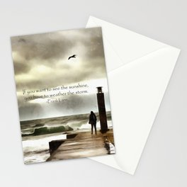 The girl in the storm, Cascais (Portugal) Stationery Cards