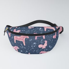 Swedish Dala Horse and Rooster Blue and Pink Pattern Fanny Pack