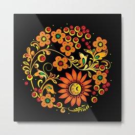 Black floral khokhloma Metal Print