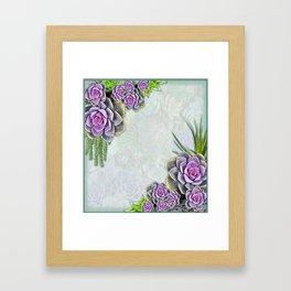Succulent Sea Green, Lavender Tone Bouquets Framed Art Print