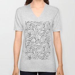 Abstract black white hand drawn swirls pattern Unisex V-Neck