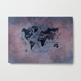world map 141 red blue #worldmap #map Metal Print