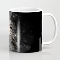 space cat Mugs featuring Space Cat by Nyx Illustration and Design