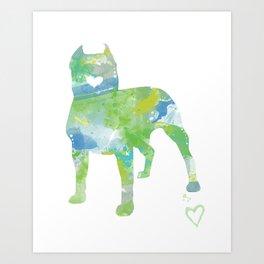 Pit Bull Silhouette Design Art Print