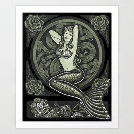 Vintage Classic Mermaid Pinup Art Print