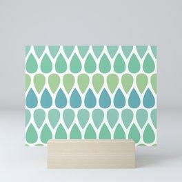 Mint and green teardrop pattern Mini Art Print