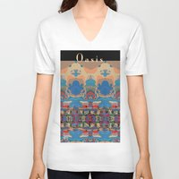 oasis V-neck T-shirts featuring Oasis by Jim Pavelle