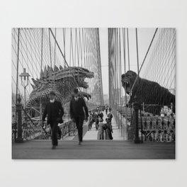 Old Time Godzilla vs. King Kong Canvas Print