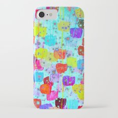 SPECKLE ME DOTTY - Bright Polka Dot Cheerful Aqua Turquoise Blue Rainbow Fine Art Abstract Painting Slim Case iPhone 7