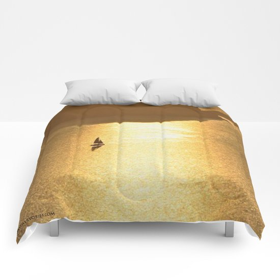 Golden Sailing on a Glittering Sea Comforters