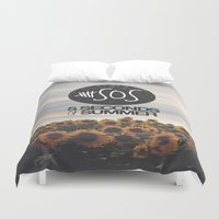 5 seconds of summer Duvet Covers featuring 5 seconds of summer sunflowers by Rose