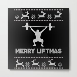 Merry Liftmas - Christmas Metal Print