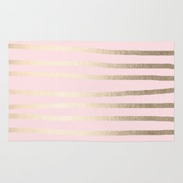 Drawn Stripes White Gold Sands on Flamingo Pink Rug