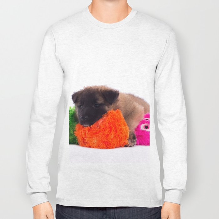 Puppy with colored toys Long Sleeve T-shirt