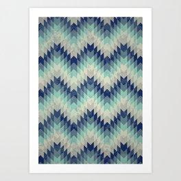 Chevron pattern_Blue Art Print