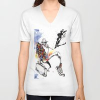 hunter s thompson V-neck T-shirts featuring Hunter S Thompson by BINDU by BINDU