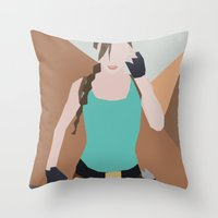 lara croft Throw Pillows featuring Classic Lara Croft by BatSpats