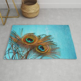 3 peacock feathers Rug