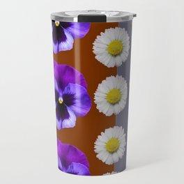 BROWN & PURPLE PANSY WHITE DAISY BUTTERFLIES SPRING Travel Mug