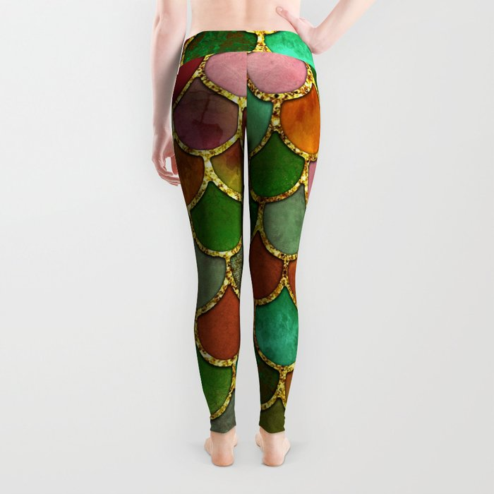 Greens & Gold Mermaid Scales Leggings